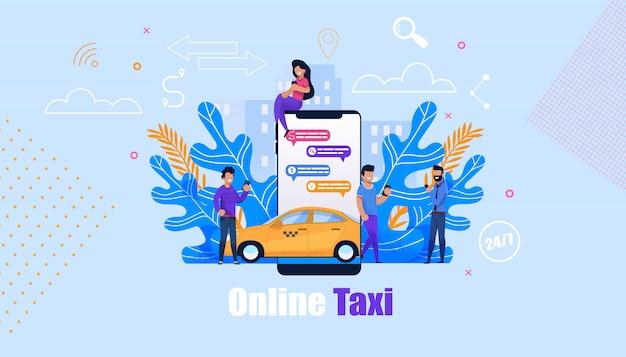 Online taxi bestel service illustratie