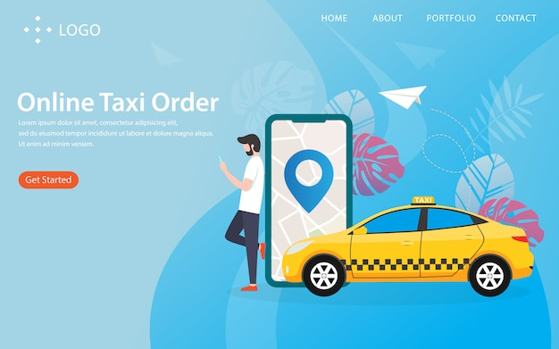 Online taxi-bestelling, bestemmingspagina