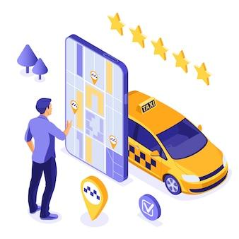 Online taxi isometrisch concept. passagier bestelt taxi met app op smartphone. online 24-uurs serviceconcept. isometrische pictogrammen.