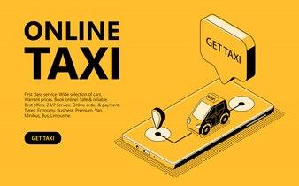 Online taxi isometrische illustratie, webpagina voor het ontvangen van een taxi
