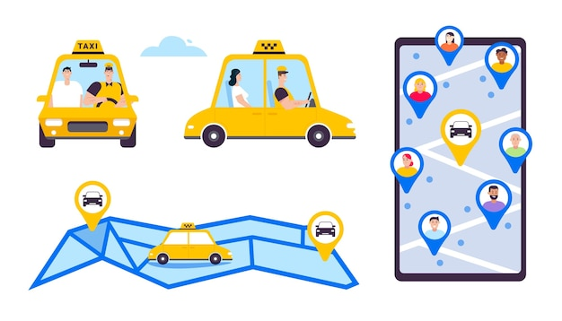 Online taxi of huur transportset geïsoleerde objecten. bestuurder en passagier in auto-, voor- en zijaanzicht. smartphonescherm met kaart en markeringen, navigatie en route