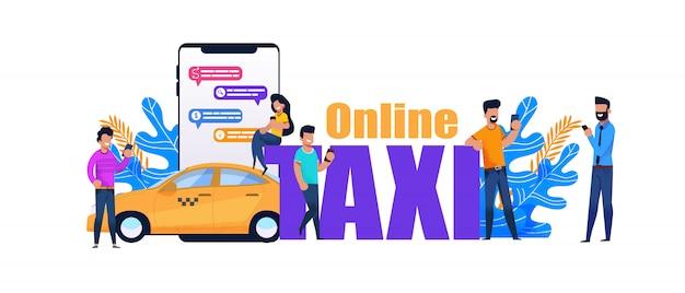 Online taxi smartphone boek. geel stadsvervoer