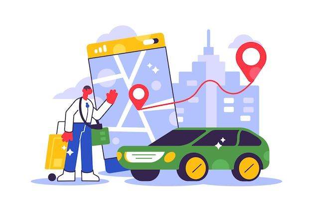 Online taxiauto bestellen, huren en delen met behulp van mobiele serviceapplicatie. man in de buurt van smartphonescherm met route en puntenlocatie op een stadsplattegrond.