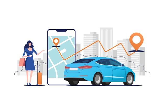 Online taxiauto bestellen, huren en delen met behulp van mobiele serviceapplicatie.