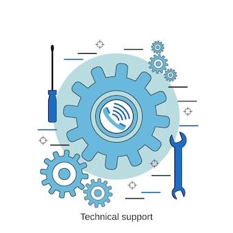 Online technische ondersteuning platte ontwerp stijl vector concept illustratie