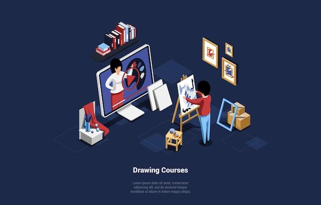 Online tekenen onderwijscursussen, verre studie conceptuele isometrische illustratie op blauw donker