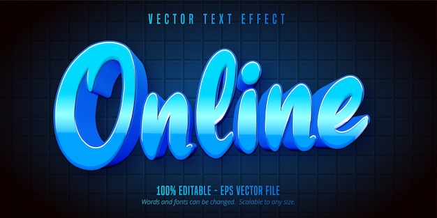 Online tekst, bewerkbaar teksteffect in blauwe kleur