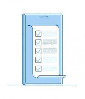 Online test. computerquizformulier op smartphone. online om lijsttest uit te voeren digitale examenvragenlijst stemlijn