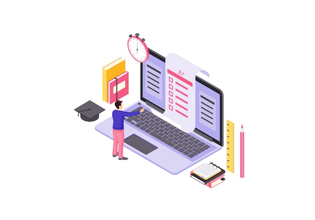 Online test isometrische illustratie