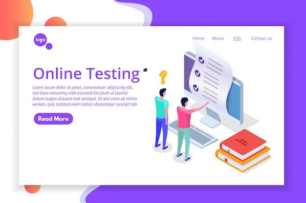 Online testen, e-learning, onderwijs isometrisch concept. illustratie.