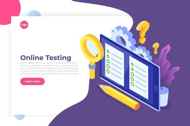 Online testen, e-learning, onderwijs isometrisch concept.