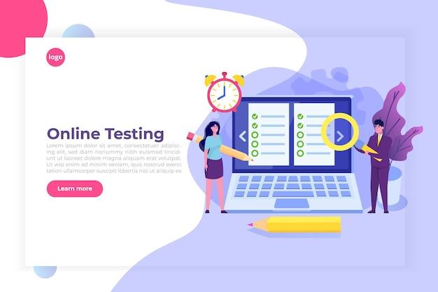 Online testen, e-learning, onderwijsconcept mensen bestuderen het aanvraagformulier.
