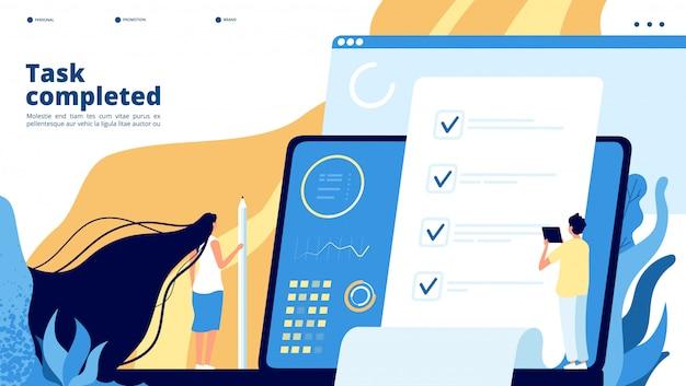 Online testlanding. internetvragenlijst, enquête-quiz. studenten, grote checklist op het scherm. examen test onderwijs concept