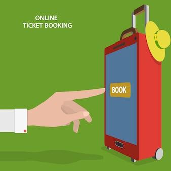 Online ticket boeking platte vector concept.