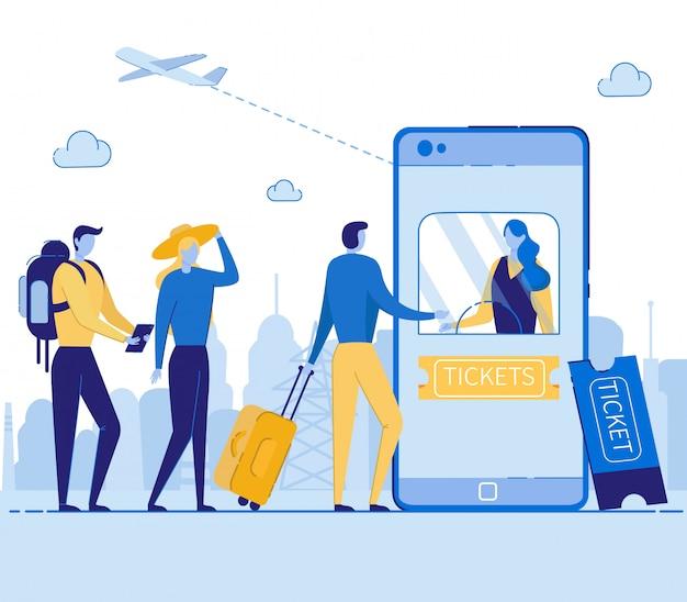 Online ticketservice kopen in mobiele telefoon.