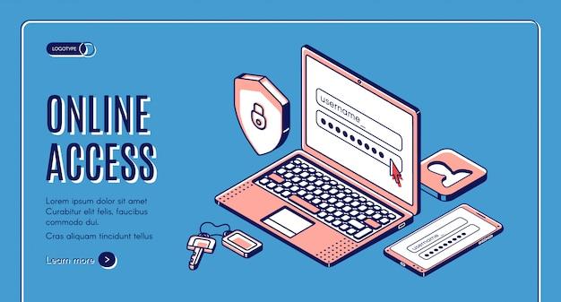 Online toegang login wachtwoord voer pagina in op laptop, weblandingspagina of bannersjabloon