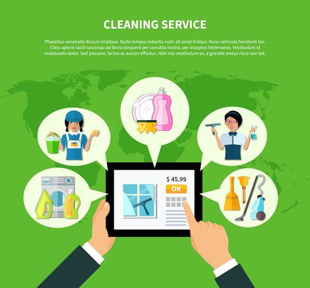 Online toepassingsconcept schoonmaken
