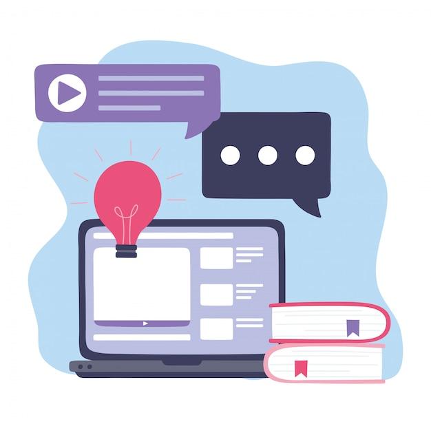 Online training, laptop praat bubbels boeken en website, onderwijs en cursussen leren digitale illustratie