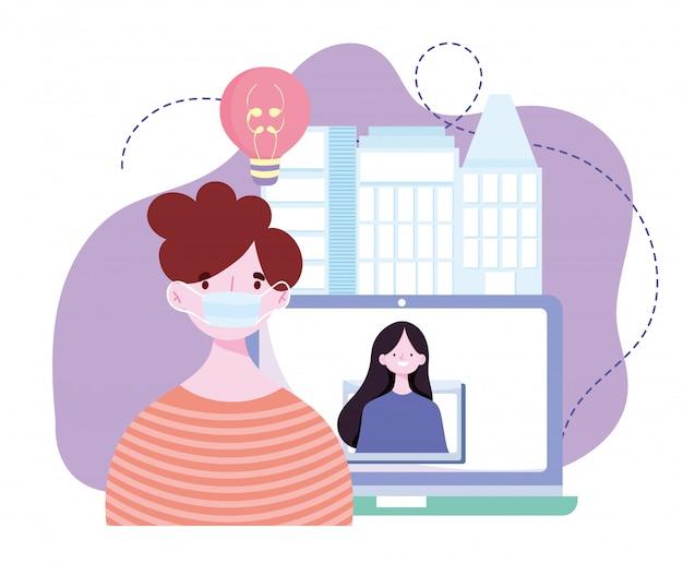 Online training, man met masker en meisje in videoschermcomputer, cursussen kennisontwikkeling via internet