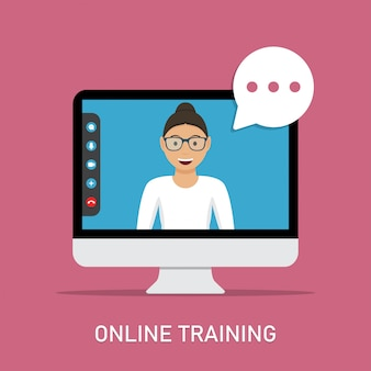 Online training met videodocent in computermonitor in een plat ontwerp