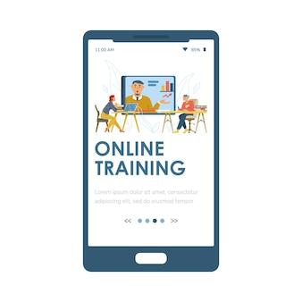 Online training mobiele pagina met mensen bij webinar platte vectorillustratie