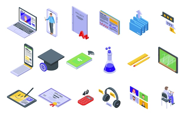 Online training pictogrammen instellen. isometrische set van online trainingspictogrammen voor web geïsoleerd op een witte achtergrond