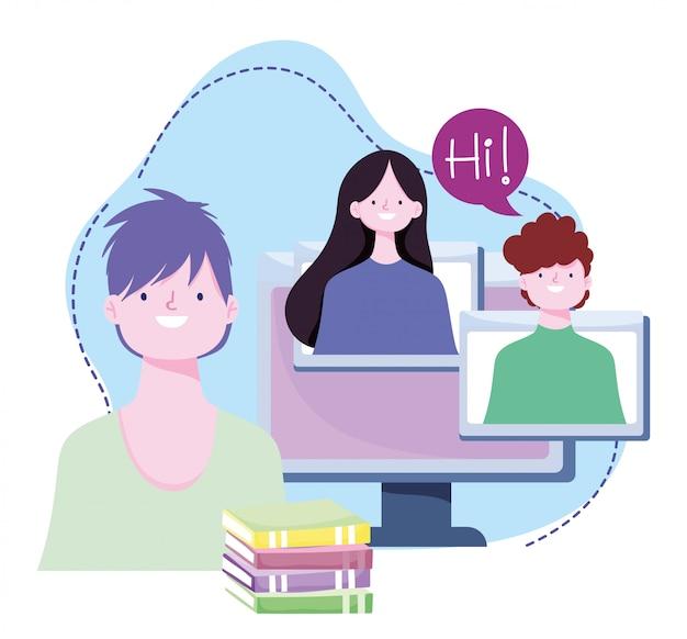 Online training, studenten computer en boeken huiswerk, cursussen kennisontwikkeling via internet