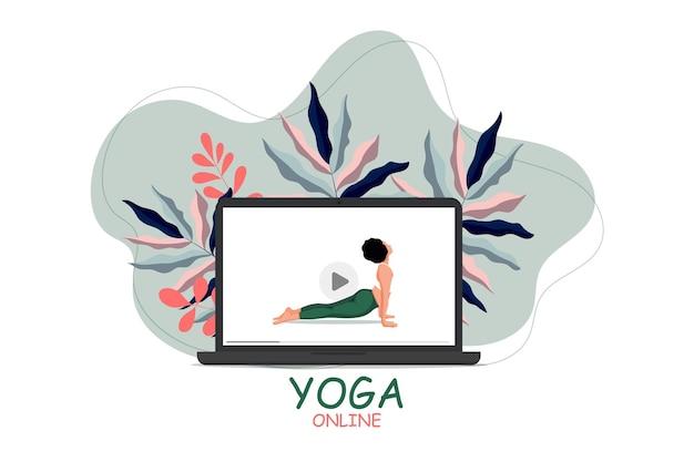Online training thuisblijven lockdown covid2019 quarantaine vrouw die yogaoefening doet