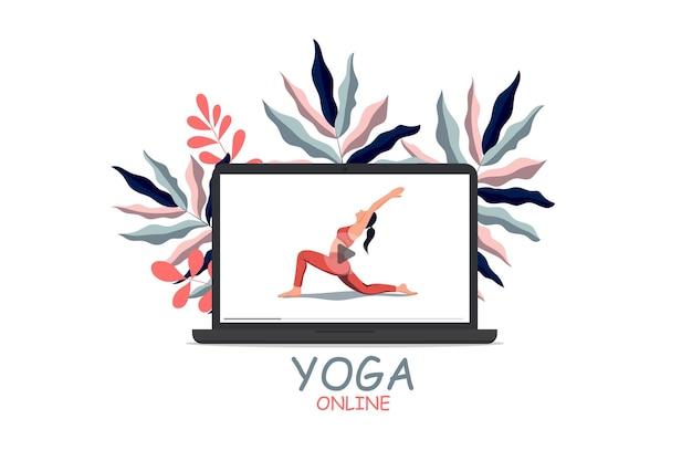 Online training thuisblijven lockdown vrouw die yogaoefening beoefent op laptopscherm