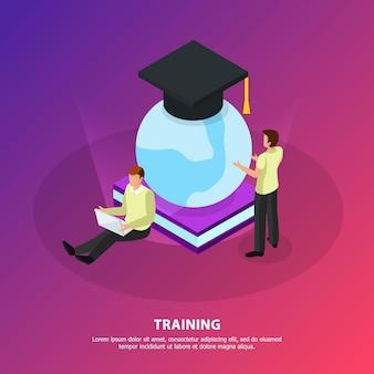 Online training zonder grenzen isometrisch met mensen die kijken naar een gloeiende bol bedekt met vierkante academische cap