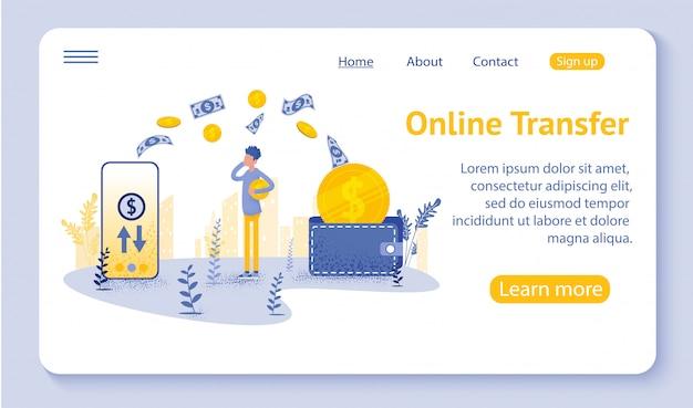 Online transfer landing oage met hand-held smartphone en druk op verzendknop