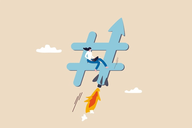 Online trend, populaire hashtags of social media talk, concept voor digitale marketing of reclamestrategie, jonge vrouwenmarketeer die laptopcomputer gebruikt bij het verplaatsen van hashtag met raketbooster.