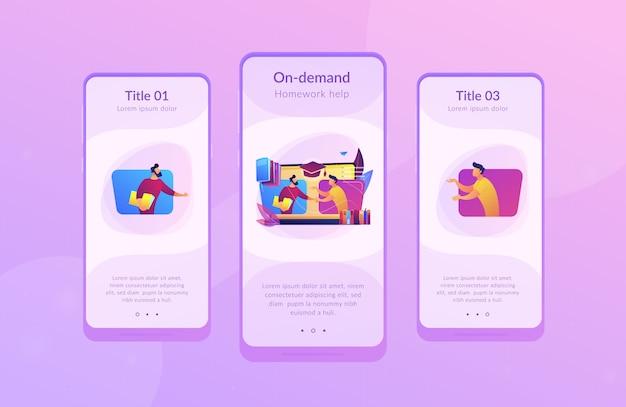 Online tutor app interface sjabloon.