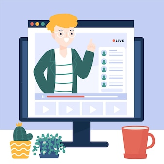 Online tutorial op computer geïllustreerd