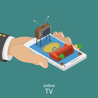 Online tv plat isometrische vector concept.