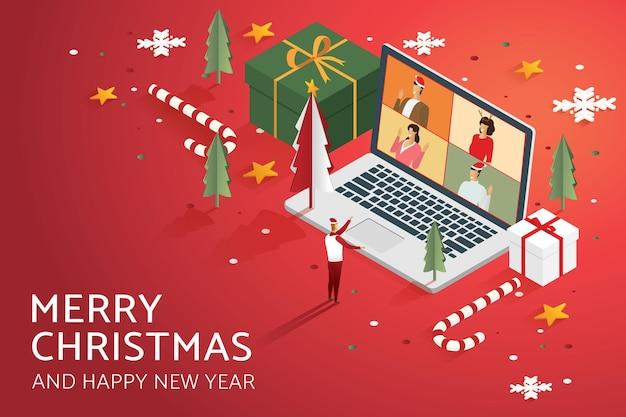 Online vakantie feest video-oproep groep mensen op laptop versieren met kerstboom geschenkdoos ster