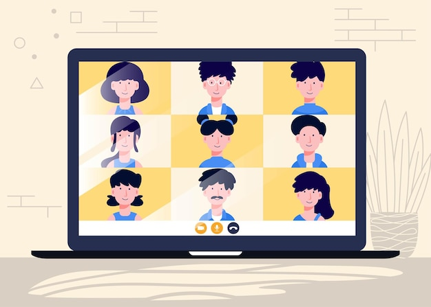 Online vergaderen en thuiswerken vectorontwerp man en vrouw op werkconferentie op afstand