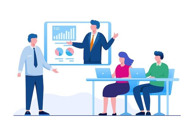 Online vergadering bedrijfsconcept platte vectorillustratie voor banner bestemmingspagina