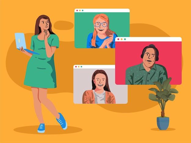 Online vergadering illustratie