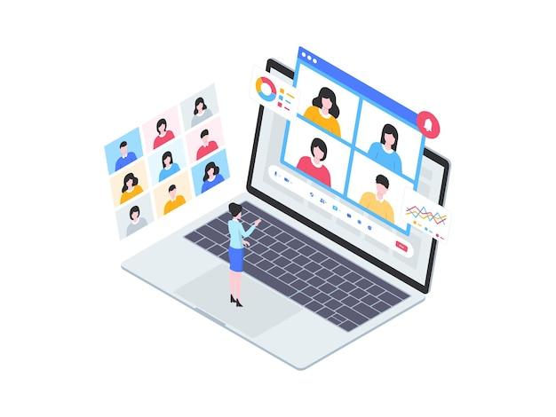 Online vergadering isometrische illustratie. geschikt voor mobiele app, website, banner, diagrammen, infographics en andere grafische middelen.