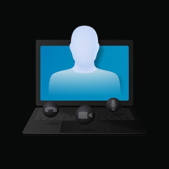 Online vergadering of videoconferentieconcept vector 3d-illustratie