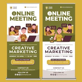Online vergadering roll-up banner afdruksjabloon in platte ontwerpstijl