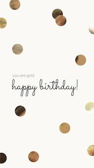 Online verjaardagswenssjabloon met gouden confetti