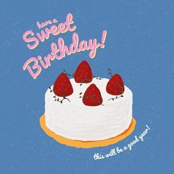 Online verjaardagswenssjabloon met schattige taartillustratie