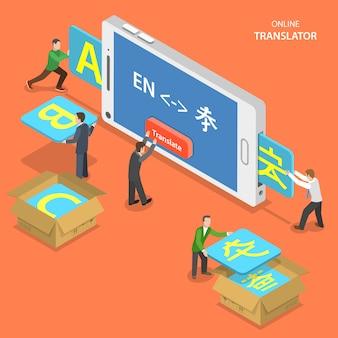 Online vertaler isometrische platte vector concept.