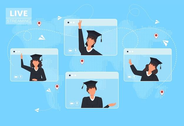 Online video-oproep afgestudeerde studenten in mantel op computerscherm.