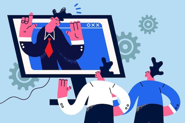 Online videoconferentie en chatconcept. groep zakenmensen partners collega's met externe videoconferentie chat online op laptop tijdens quarantaine begroeten elkaar vectorillustratie