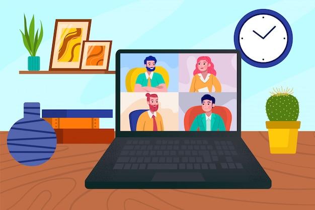 Online videoconferentie op laptop scherm, zakelijke communicatie door internet oproep illustratie. teammensen en webgroep technologie op computerbijeenkomst. virtuele kantoorchat.