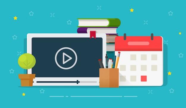 Online videocursussen of webinar studietraining illustratie platte cartoon