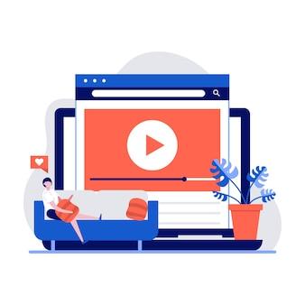 Online videoserviceconcept met karakter. mensen die thuis tv kijken en een videoblog streamen.